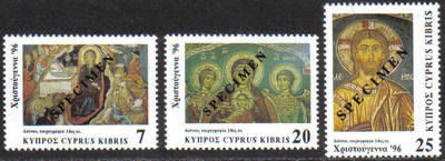 Cyprus Stamps SG 918-20 1996 Christmas Murals - Specimen MINT