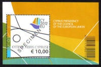 Cyprus Stamps SG 1280 MS 2012 Cyprus Presidency of the Council of the EU - Mini sheet Specimen MINT
