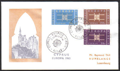 Cyprus Stamps SG 234-36 1963 Europa Emblem - Unofficial FDC (h412a)