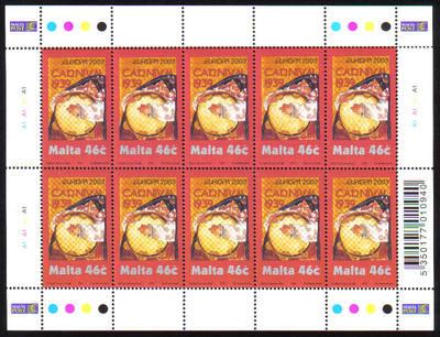 Malta Stamps SG 1305 2003 Europa Poster Art 46 cents Full sheet - MINT