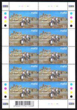 Malta Stamps SG 1374 2004 Europa Holidays Hagar Qim Prehistoric Temple 51 cents Full sheet - MINT