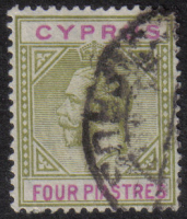 Cyprus Stamps SG 095 1921 Four Piastres - USED (h415)
