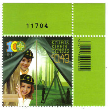Cyprus Stamps SG 1292 2013 Cyprus Scouts Association Centenary - Control numbers MINT