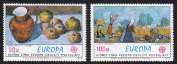 North Cyprus Stamps SG 023-24 1975 Europa Paintings - MINT
