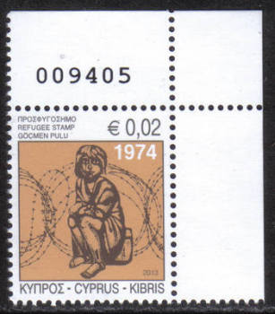 Cyprus Stamps 2013 Refugee Fund Tax SG 1290 - Control numbers MINT