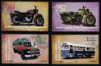 North Cyprus Stamps SG 0749-52 2012 Old Buses and Motorbikes - MINT