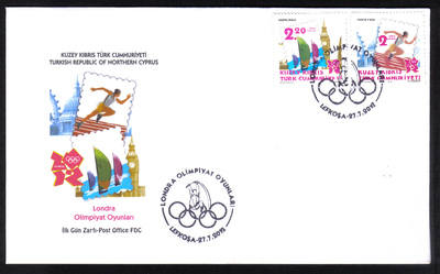 North Cyprus Stamps SG 2012 (e) London Olympic Games - Official FDC