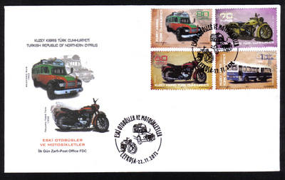 North Cyprus Stamps SG 2012 (f) Old Buses and Motorbikes - Official FDC