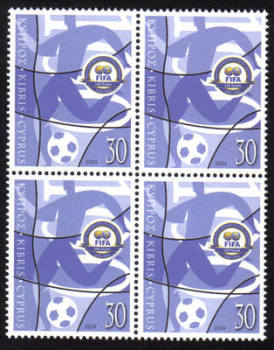 Cyprus Stamps SG 1069 2004 FIFA Football - Block of 4 MINT