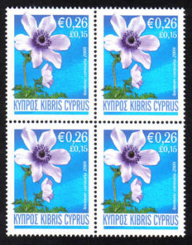 Cyprus Stamps SG 1158 2008 Anemone 26c - Block of 4 MINT