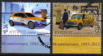 Cyprus Stamps SG 1297-98  2013 Europa issue Postal Vehicles  - CTO USED (h490)
