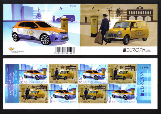 2013 Europa Cyprus stamps - Post Office Vehicles Booklet