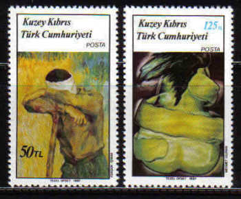 North Cyprus Stamps SG 208-09 1987 Art 6th Series - MINT