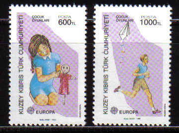 North Cyprus Stamps SG 251-02 1989 Europa Childrens Games - MINT