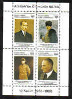 North Cyprus Stamps SG 246 MS 1988 50th Anniversary of the death of Kemal Ataturk - Mini sheet MINT