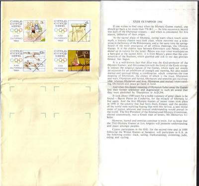 Cyprus Stamps Leaflet 1984 Issue No 3 Los Angeles Olympic games (h492)