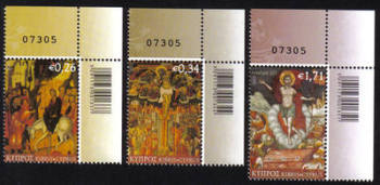 Cyprus Stamps SG 1294-96 2013 Greek Orthodox Easter - Control numbers MINT