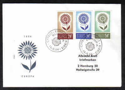 Cyprus Stamps SG 249-51 1964 Europa Flower - Unofficial FDC (a355)