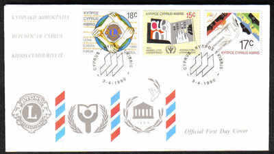 CYPRUS STAMPS SG 771-73 1990 FDC ANNIVERSARIES & EVENTS (a210)