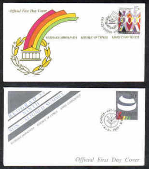 Cyprus Stamps SG 745-46 1989 9th Non-aligned summit - Official FDC (a207)