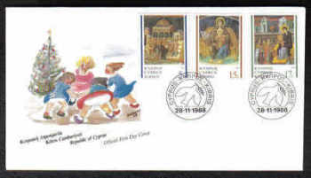 Cyprus Stamps SG 731-33 1988 Christmas Frescoes - Official FDC