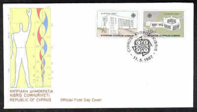 Cyprus Stamps SG 704-05 1987 Europa Modern Architecture - Official First Da