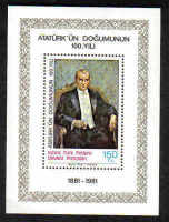 North Cyprus Stamps SG 108 MS 1981 The Birth Centenary of Kemel Ataturk - Mini sheet MINT