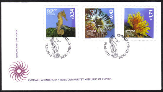 2013 Cyprus stamps - FDC Organisms of the Mediterranean Marine Environment.