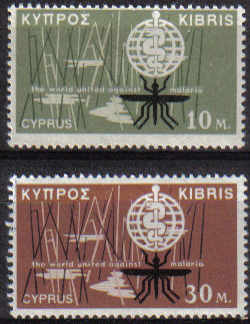 Cyprus Stamps SG 209-10 1962 Malaria Eradication - MINT