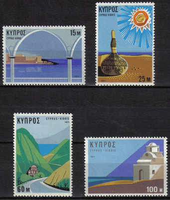 Cyprus Stamps SG 378-81 1971 Tourism Year - MLH
