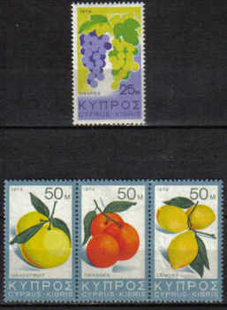Cyprus Stamps SG 419-22 1974 Fruit - MINT