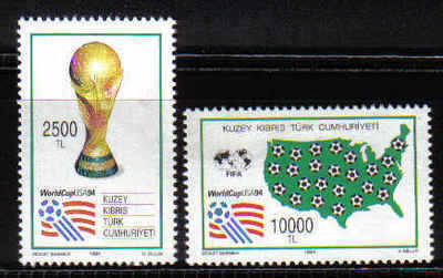 North Cyprus Stamps SG 374-75 1994 World Cup Football USA - MINT