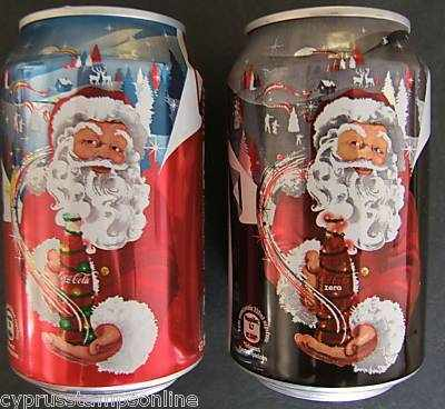 Cyprus Coca Cola set of 2 Cans - Christmas 2008