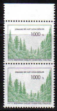 North Cyprus Stamps SG 403 1995 Forest Tax Fund - Mint PAIR (b526)