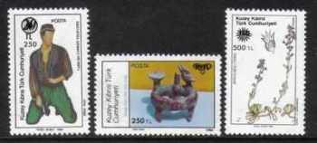 North Cyprus Stamps SG 301-03 1991 Surcharge - MH