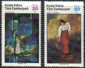 North Cyprus Stamps SG 176-77 1985 Art 4th Series - MINT