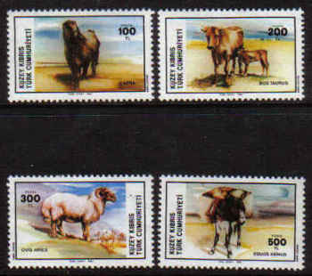 North Cyprus Stamps SG 168-71 1985 Domestic animals - MINT