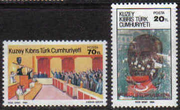 North Cyprus Stamps SG 159-60 1984 1st Anniversary of the TRNC - MINT