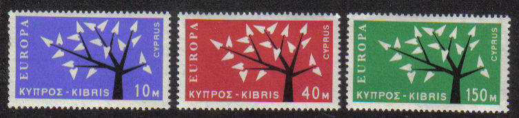 Cyprus stamps SG 224-26 1963 EUROPA Tree
