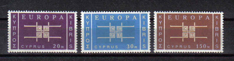 Cyprus stamps SG 234-36 1963 EUROPA Emblem