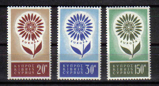 Cyprus stamps SG 249-51 1964 EUROPA Flower