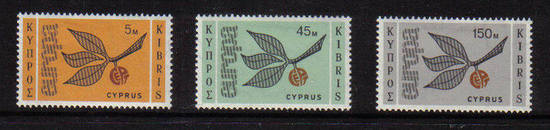 Cyprus stamps SG 267-69 1965 EUROPA Sprig