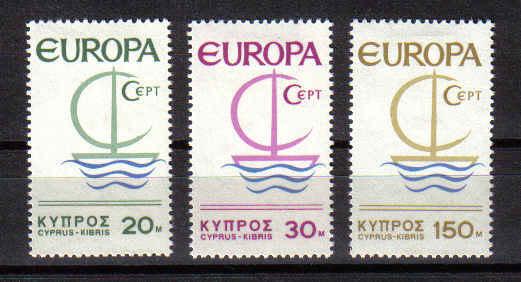 Cyprus stamps SG 280-82 1966 EUROPA Ship