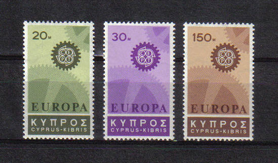 Cyprus stamps SG 302-04 1967 EUROPA Cogwheels