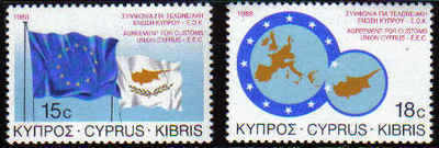 Cyprus Stamps SG 716-17 1988 EEC Customs union - MINT