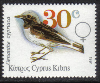 Cyprus Stamps SG 803 1991 30c Pied Wheatear Birds - MINT