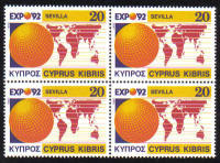 Cyprus Stamps SG 815 1992 Expo 92 Sevilla - Block of 4 MINT