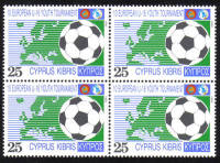 Cyprus Stamps SG 816 1992 10th Under 16 European Football Championship - Block of 4 MINT