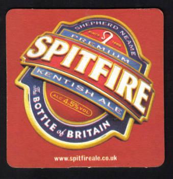 "British Beermats Shepherd Neame, Kentish Ale ""SPITFIRE"" - UNUSED (z197)"