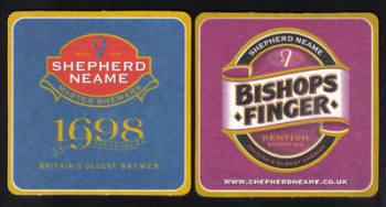 """British Beermats Shepherd Neame, Kentish Ale """"BISHOPS FINGER"""" - UNUSED (z198)"""